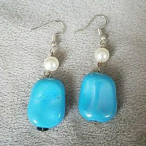 Jewelry - Turquoise pearl hook silver earrings handmade
